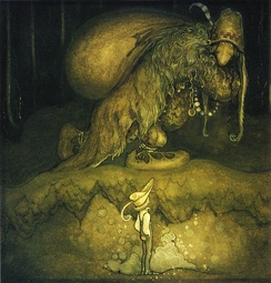 """'Good evening, uncle!' said the boy"". A drawing by John Bauer on Swedish folklore"