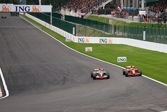 Hamilton passes Räikkönen in the closing stages, having cut the previous corner.