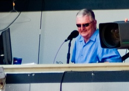 Harrelson in the broadcast booth in 2007