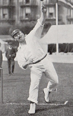 A cricketer bowling