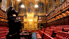 The chamber of the House of Lords, the UK's Upper House
