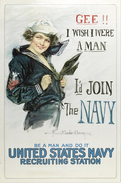 1917 recruiting poster for the United States Navy, featuring a woman wearing the most widely recognized uniform, the enlisted dress blues by Howard Chandler Christy.