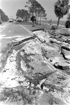 Numerous coastal roads, such as this one along the Gulf Coast of Florida, were damaged by the hurricane's storm surge.
