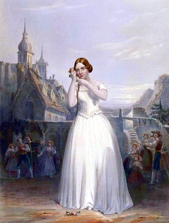 The 19th century singer Jenny Lind depicted performing La sonnambula
