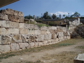 Ruins of the Themistoclean Wall in the Kerameikos of Athens, Greece, named after Themistocles