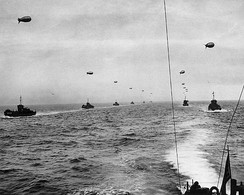 Large landing craft convoy crosses the English Channel on 6 June 1944.