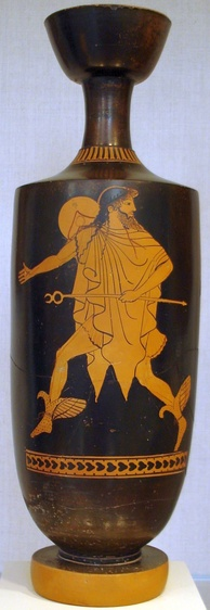 Hermes hastens bearing his kerukeion, on an Attic lekythos, c. 475 BC, attributed to the Tithonos Painter