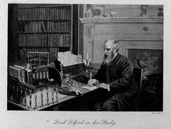 Thomas Powys, 4th Baron Lilford, in the Library at Lilford Hall