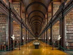 "The Long Room of the Trinity College Library in Trinity College, Dublin, Ireland. It is a legal deposit or ""copyright library"" and is entitled to receive a copy of all books published in the UK."