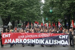 May Day 2010 demonstration of Spanish anarcho-syndicalist trade union CNT in Bilbao, Basque Country