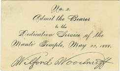 Manti Temple dedication admission, signed by Wilford Woodruff