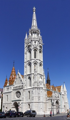 Matthias Church in Budapest, built in Gothic and Gothic revival style