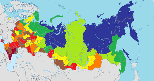 Медианная зарплата в апреле 2017 года. Темно-синий— свыше 40 тысяч рублей, зелёный— от 28 до 40 тысяч, салатовый от среднероссийской (24 700) - до 28 тысяч, жёлтый - от 22 тысяч до 24 700, оранжевый - от 20 до 22 тысяч, красный— от 18 до 20 тысяч, коричневый - от 16 до 18 тысяч, бордовый— менее 16 тысяч