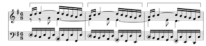 Sequence in J.S. Bach's Fugue in G major BWV 860, mm. 17-19, also considered a bridge.[citation needed]  Play (help·info)