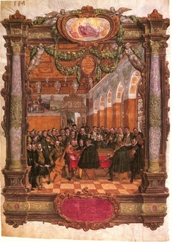 Lassus leading a chamber ensemble (contemporary painting by Hans Mielich)