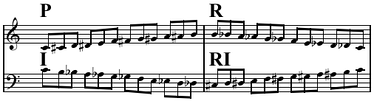 Prime, retrograde, inverted, and retrograde-inverted forms of the ascending chromatic scale. P and RI are the same (to within transposition), as are R and I.