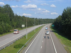 The highway between Porvoo and Helsinki at the Jakomäki district in Helsinki, Finland.
