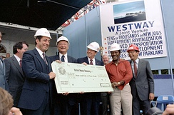 President Ronald Reagan presenting Mario Cuomo and other New York leaders with a check for Westway Project Funds, September 1981