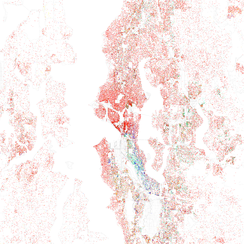 Map of racial distribution in Seattle, 2010 U.S. Census. Each dot is 25 people: White, Black, Asian Hispanic, or Other (yellow)