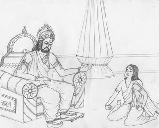 Janaka debating with Ashtavakra. Art from the epic Ashtavakra (2010).