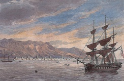 A painting depicting the British Expeditionary Force of 1809 off the coast of Ras Al Khaimah in 1809.