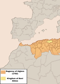 The estimated extent of the Regency of Algiers in 1792 after taking possession of the Rif and Oujda