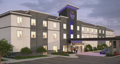 Rendering of Sleep Inn prototype exterior, November 2017