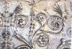 Close up on the sculpted detail of the Ara Pacis (Altar of Peace), 13 BC to 9 BC