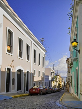 Some streets in Old San Juan are still paved with blue cobblestones from the Spanish colonial era.