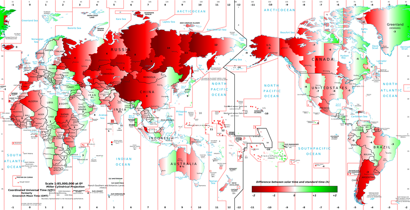 A great part of the world has a gap between the official time and the solar time