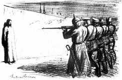 The Deserter, 1916. Anti-war cartoon depicting Jesus facing a firing squad with soldiers from five European countries.