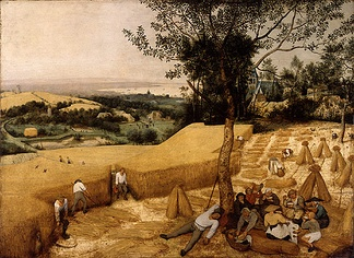 Pieter Brueghel the Elder, The Harvesters, 1565: Peace and agriculture in a pre-Romantic ideal landscape, without sublime terrors