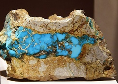 A fine turquoise specimen from Los Cerrillos, New Mexico, US, at the Smithsonian Museum. Cerrillos turquoise was widely used by Native Americans prior to the Spanish conquest.