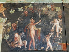 Fresco with Dionysian scenes from a Roman villa of Cologne, Germany (site of the ancient city Colonia Claudia Ara Agrippinensium), 3rd century AD, Romano-Germanic Museum