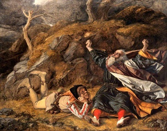 King Lear and the Fool in the Storm by William Dyce (1806–1864) — the depiction of the heath of a popular and critical fallacy of interpretation.[1]
