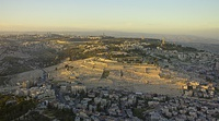 Sunset aerial photograph of the Mount of Olives
