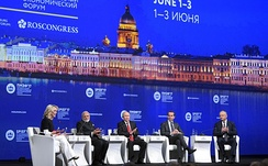 At a conference in St. Petersburg, NBC's Megyn Kelly repeatedly questioned Putin about alleged Russian cyberattacks.[167]