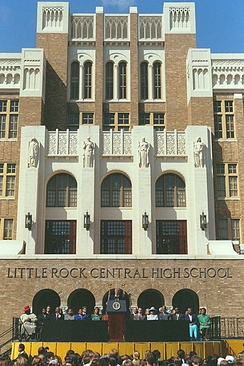 President Bill Clinton led celebrations of the 40th anniversary of desegregation at Little Rock Central High School.
