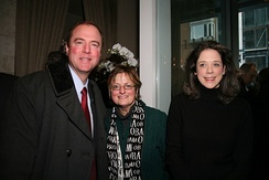 Schiff and Heather Podesta at a party hosted by the Podesta Group in Washington, D.C., honoring the inauguration of Barack Obama