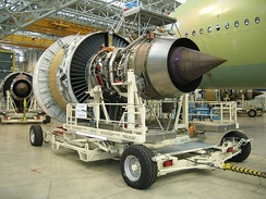 Engine Alliance GP7000 turbofan (view from the rear) awaiting installation on an Airbus A380 under construction