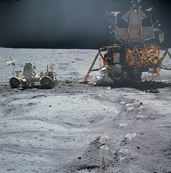 Apollo 16 LEM Orion, the Lunar Roving Vehicle and astronaut John Young (1972)