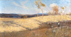 Golden Summer, Eaglemont, painted in 1889 by Heidelberg School artist Arthur Streeton, shows the then-rural suburb of Heidelberg during an El Niño drought. The area has since undergone urbanisation as part of the city's continued sprawl outwards.