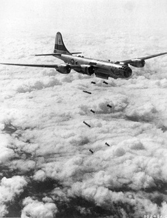 Wing B-29 dropping 1,000 lb bombs over Korea August 1951