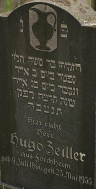 A tombstone from 1935 in Baiersdorf, Germany, reading:  נפטר ביום כׄ אייר ונקבר ביום כׄגׄ אייר שנת תׄרׄצׄהׄ לפׄק  In English:  Passed away on day 20 Iyar And buried on day 23 Iyar Year 695 without the thousands [i.e. year 5695]  Note the dots above each letter in each number.
