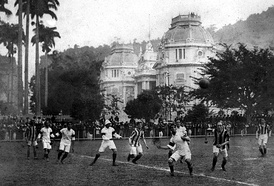 The first Brazil national team ever playing Exeter City in Rio de Janeiro