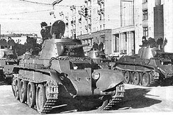 Red Army BT-7 tanks on parade