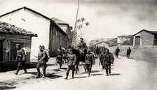 Bulgarian troops entering a village in northern Greece in April 1941.