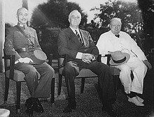 Chiang Kai-shek, Roosevelt, and Winston Churchill at the Cairo Conference