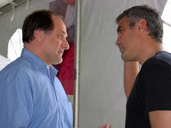Capuano with actor and activist George Clooney in Darfur.