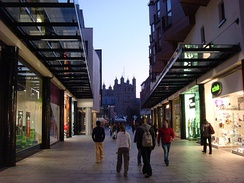 Princesshay Shopping Centre with Exeter Cathedral in the background